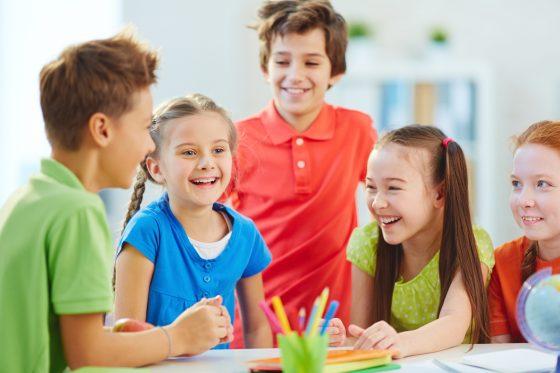 Joyful schoolkids